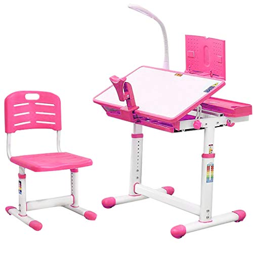 Children Desk, Height Adjustable Children Study Desk Chair and Table Set, Student Writing Desk for Studying, Reading and Drawing w/Pull Out Drawer Storage, Pencil Case, Bookstand,Pink