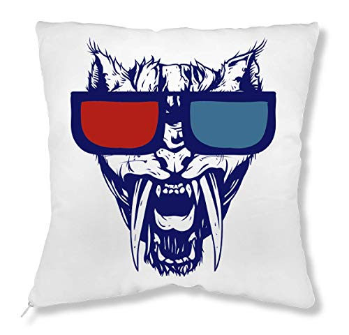 LukeTee Angry Cat Wit Red And Blue Sunglasses Cuscino