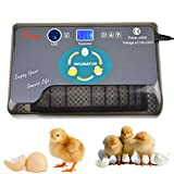 RV77 Automatic Egg Incubator, Clear Digital Display Egg Hatcher with Temperature Control, 12-24 Egg Digital Poultry General Purpose Incubators for Chicken, Ducks, Birds & More