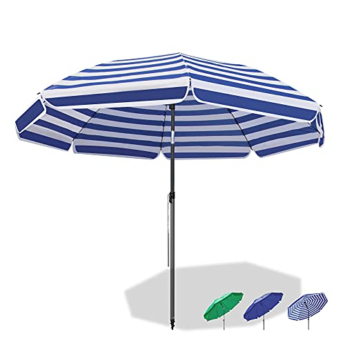 Magiea Sonnenschirm Strandschirm, Ø 180 cm Gartenschirm Marktschirm, Terrassenschirm mit Bodenhülse & Drehstange & Schutzhülle, Blaue weiße Streifen rund UV50+ Schutz Sonnenschutzschirm