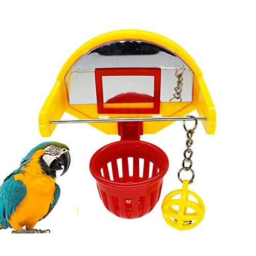 Urijk Papagei Spielzeug Lustiges Vogelspielzeug Mini-Basketballkorb mit Glocke Spiegel Vogel Kauspielzeug für Papageien Wellensittiche Nymphensittich, Farbe Zufällig