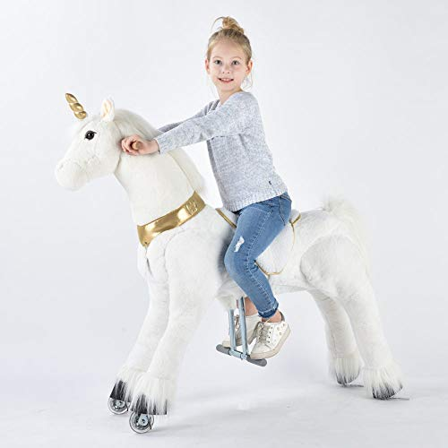 UFREE Horse Great Present for Kids, Action Pony Toy, Ride on Large 44'' for Children 6 Years Old to Adult. (Unicorn with Pink Horn)