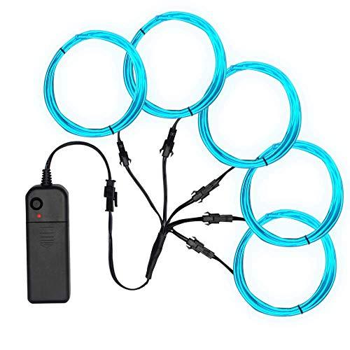 SZILBZ 5 x 1m EL Wire Neon Beleuchtung, Kabel Neon Seil Lichter,flexible Neonlicht für DIY Weihnachtsfeiern Rave Partys Halloween Kostüm Eisblau