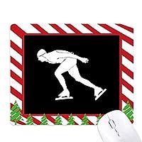 ブラックウィンタースケートスポーツのシルエット ゴムクリスマスキャンディマウスパッド