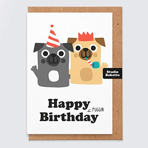 Happy Puggin Geburtstag - Mops Geburtstagskarte - lustige Geburtstagskarte - für sie - unhöfliche Mops Geburtstagskarte - für Frau - Mama - Freundin - vom Hund - Mops Party - Hundekarte