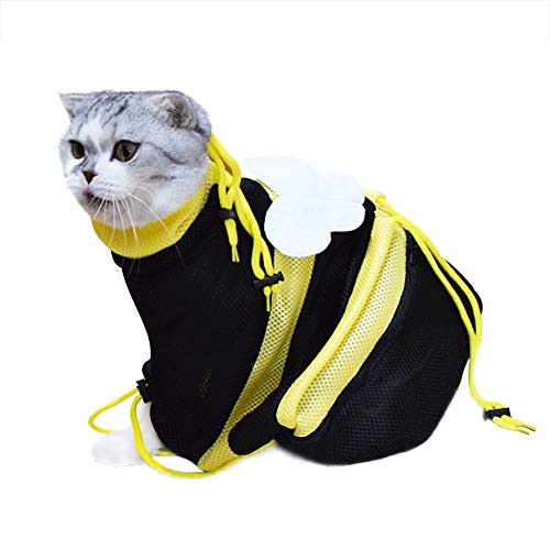 Yarti Cat Grooming Bag Cat Restraint Adjustable Bag Washing Shower Mesh Bag Biting Scratching Resisted for Bathing Injecting Nail Trimming Ear Cleaning