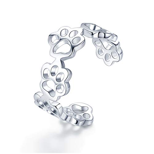 Anillo ajustable de plata de ley 925 con huellas de gato y perro, para mujer, joyería de plata