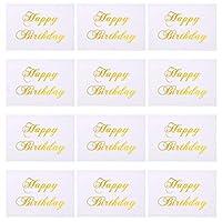 Amosfun 50ピースお誕生日おめでとうカード黄金箔単語祝福カードクリエイティブグリーティングカードパーティーフェスティバル周年