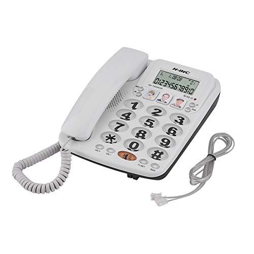LYQQQQ Teléfono con Cable de 2 líneas con Altavoz Phone Speed Dial Phone Pantalla de Llamada entrante con identificador de Llamadas Inicio Office Landline