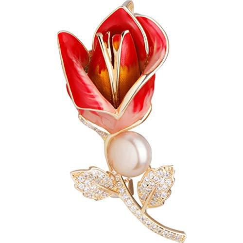 Brosch Pearl brosch stift brosch kvinnliga sidenscarf spänne sjal spänne näktergal ros dekoration (Color : Red, Size : 3 * 6.1cm)