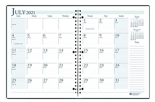 House of Doolittle Agenda mensal 2021-2022, acadêmica, preta, 21 x 28 cm, julho - agosto (HOD26302-22)