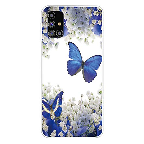 Miagon Funda transparente para Samsung Galaxy M51, diseño de flores, color blanco, creativo, dulce, transparente, suave, ultrafina, de silicona
