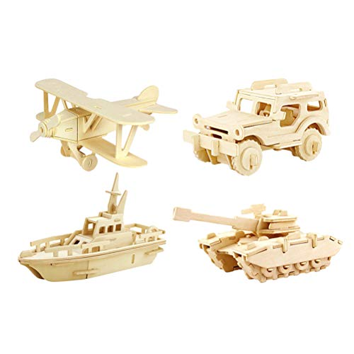 TOYANDONA 4pcs 3D Wooden Puzzles Educational Wooden Toy 3D Jigsaw Plane Jeep Boat Tank Vehicle Puzzle Gifts for Kids and Adults