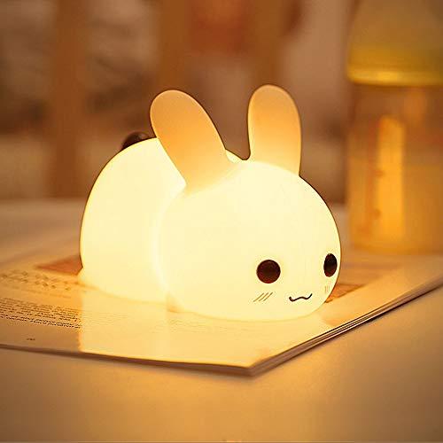 IWILCS Silikon Nachtlichter, LED Nachtlicht Kinder, Baby Nachtlampe, Wiederaufladbare USB Hase Nachtlicht, Touch Control, dimmbar mit Warm-Licht und Farbwechsel Modi für Kleinkinder Kinder (Warmweiß)