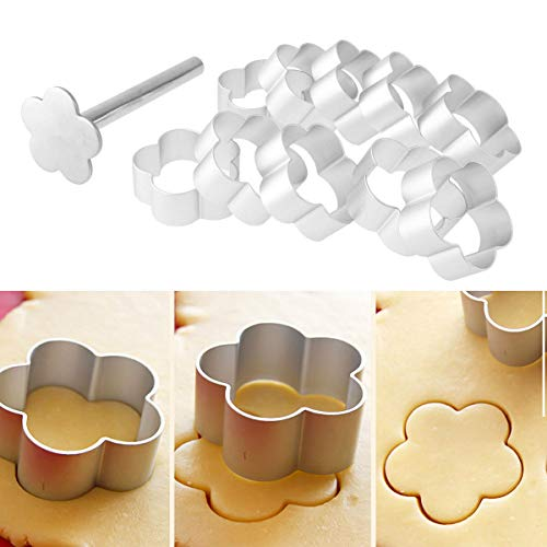 10 Packs Cookie Fondant Cake Mold Cutter Pineapple Shape Cake Pie Biscuit Cutter Bread Mold with Stainless Steel Press Stamp Sugar Craft Cake Mould DIY Decorating Tool (Flower)