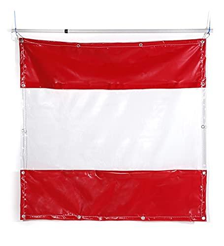 MDCG Chiaro Teloni All'aperto Poncho Balcone Coprendo La Pioggia Giardinaggio Parabrezza Vetro Morbido Panno Wai Tenda dello Schermo Rosso +Trasparente (Color : Red, Size : 1.1x4m/0.3mm)