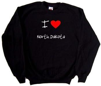 I Love Heart North Dakota Black Sweatshirt  White & Red print -XXX-Large