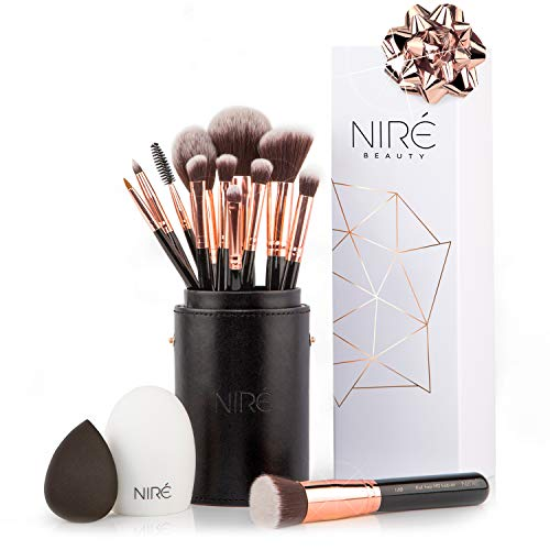 Niré Beauty Make-up-Pinselset Artistry: vegane Pinsel in einem stylischen Etui, mit Niré Beauty Blender und Pinselreiniger