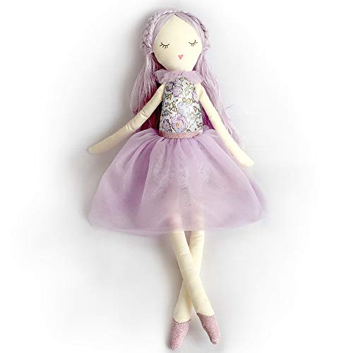 MON AMI Lavender Scented Designer Plush Doll with Flora top and Tulle Dress, Scented Drawer Sachet, Adorable Stuffed Toy Gift for Little Girls or Boys, Toddlers and pre-School Kids, Lavender, 20'