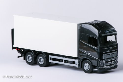 EMEK -89113 - VOLVO FH GL 3-achsiger Koffer-Lkw mit Hubbühne, schwarzes Fahrerhaus, Maßstab 1:25