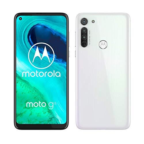 Motorola G8 - Smartphone Portable débloqué 4G 64 GO Blanc + Motorola Escape 220 - Casque Audio avec Bluetooth - Compatible avec Alexa, Siri et Google Assistant - Noir offert [Offre limitée]