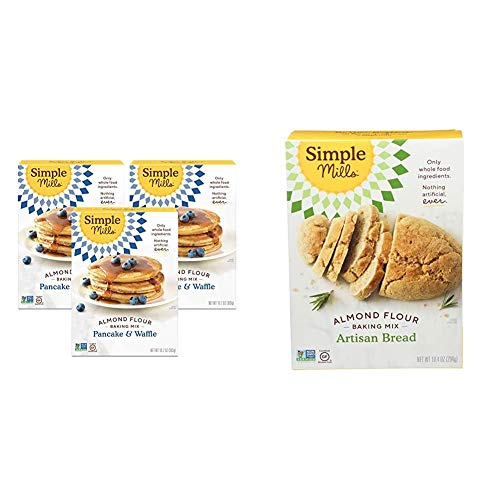 Simple Mills Almond Flour Pancake Mix amp Waffle Mix Gluten Free Made with whole foods 3 Count amp Almond Flour Baking Mix Gluten Free Artisan Bread Mix Made with whole foods
