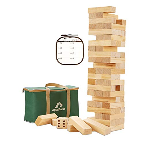 ApudArmis Giant Tumble Tower, 54 PCS Pine Wooden Stacking Timber Game with 1 Dice Set - Classic Block Board Game for Kids Adults Family (2Ft to Over 4.2Ft)