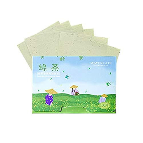 Papier buvard 100seet Huile visage Lavande Papier Absorbant charbon de bambou rose fibres thé vert huile de contrôle des plantes buvard Outils de maquillage papier matifiant (Quantity : Green tea)