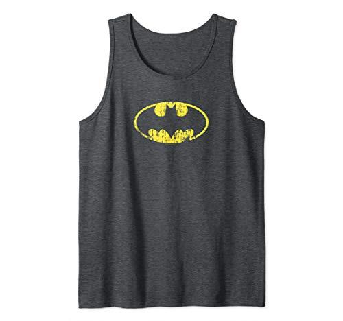 Batman Classic Logo Distressed Gray Tank Top
