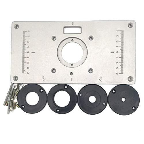 Router Table Insert Plate - Trim Router Tafelplaat Houtbewerking Flip Trimming Board met 4 Kunststof Ringen en 1 Bevestigingsschroeven (9.25''x4.72''x 0.31'')
