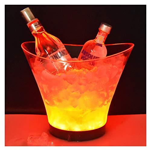 YIBANG-DIANZI Cubo de Hielo Cubo de Hielo Luminoso Transparente 6L Redondo Colorido LED plástico Cubo de Hielo Tipo de batería Transparente Vino Bebidas Cerveza Cubo de Hielo para Fiestas Familiares