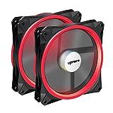 Novonest 140mm PCケースファン LEDリング 静音タイプ 25mm厚 4ピン(赤い 2本1セット) 【14CMR4-2】 …