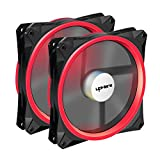 upHere 140mm PWM case Fan 2PACK Solar Eclipse Hydraulic Bearing Quiet Cooling case Fan for Computer Mirage Color LED Fan 4 pin with Anti Vibration Rubber Pads(Red) 14CMR4-2