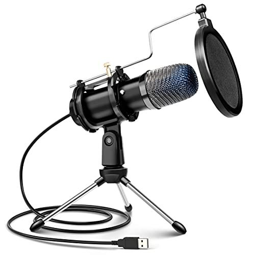 Micrófono PC USB, Micrófono de Condensador PS4 con Trípode para Grabación de Estudio, Audio Chat en Línea para Facebook TIK Tok Skype Youtube, Ordenador Portátil, Tableta, Móvil, Mac, Negro
