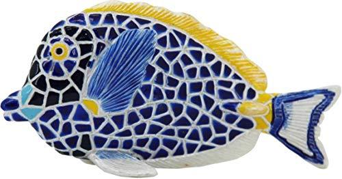 Laure TERRIER Statua di Pesce Esotico, in Mosaico Barcino, Altezza 11 Centimetri. Dipinto a Mano, per Collezione o Decorazione