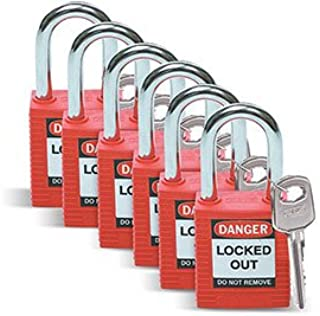 Brady174; 51339 Safety Padlock With Label, Keyed Differently, Red, Plastic Covered Steel, 6/Pack