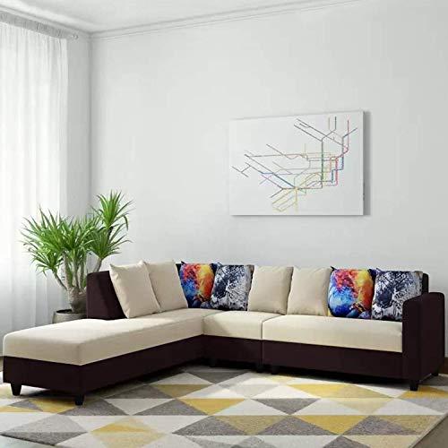 CasaStyle - Casper 6 Seater LHS L Shape Sofa Set (Cream-Brown)