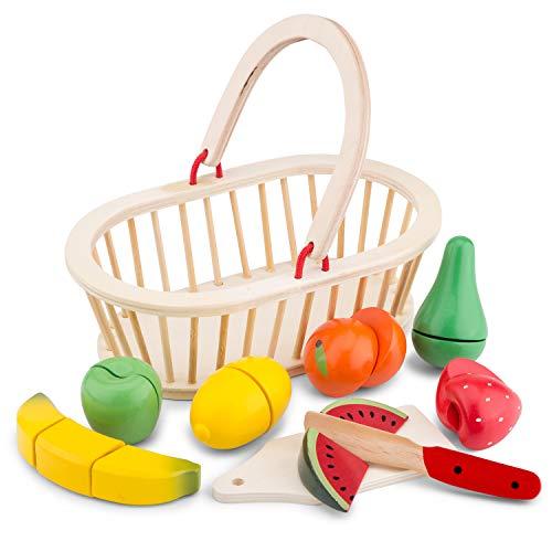 New Classic Toys Panier de Fruits en bois Jeu d'Imitation Éducative pour Enfants