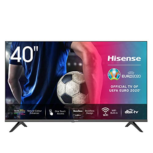 Hisense 40AE5500F 100cm (40 Zoll) Fernseher (Full HD, Triple Tuner DVB-C/S/S2/T/T2, Smart-TV, Frameless, Prime Video, Netflix, YouTube, DAZN)