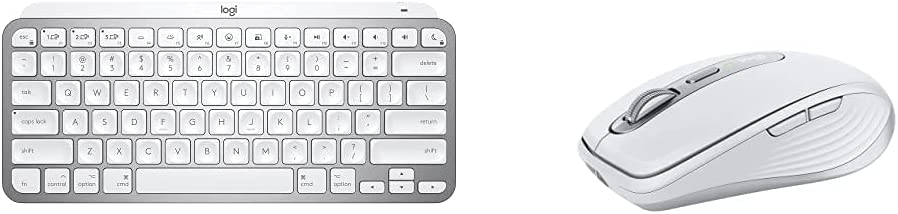 Logitech MX Keys Mini for Mac Minimalist Wireless Illuminated Keyboard with Logitech MX Anywhere 3 for Mac Compact Performance Mouse - Pale Grey