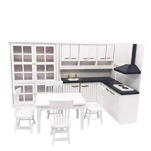 SXFSE Dollhouse Decoration Accessories,Miniature Kitchen 1:12 Mini Dollhouse Mini Kitchen Dining Table and Chair Cabinet