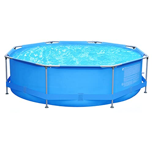Sekey 3 m Piscina de suelo, piscina de jardín de verano redonda octogonal, piscina con estructura de metal Ø 300 x 76 cm - Azul