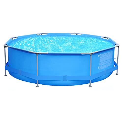 Sekey Aufstellpool, achteckiger runder Garten Pool für den Sommer, Metallrahmenpool Ø 300 x 76 cm - blau
