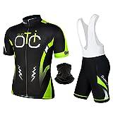 SuooTci Costumi da Ciclismo per Uomini, Completo Ciclismo Uomo Maglia Ciclismo Maniche Corte Squadra Professionale-B-L