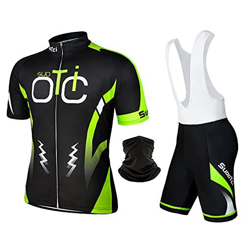SuooTci Completo Ciclismo Uomo Estivo Abbigliamento Mountain Bike Tuta MTB Trek Maglia Ciclismo Manica Corta e Pantaloncini Bici Imbottiti Salopette Ciclismo Gel-B-3XL