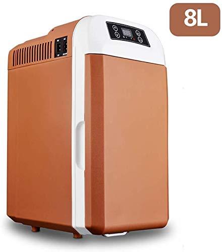 LLYU 8 Liter Mini-Kühler und Wärmer mit LED-Anzeige, Kleine Kühl Mini Wohnheim for Studenten (Color : Brown)