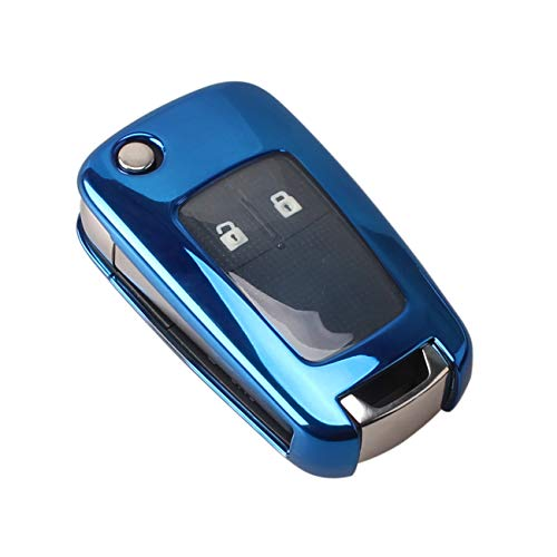 Heart Horse Carcasa de silicona TPU para llave de coche, compatible con Opel Astra Insignia, Vectra Corsa, Zafira, Meriva Mokka (azul)