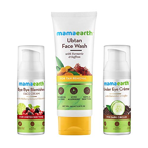 Mamaearth Complete Skin Glow Kit (Pigmentation & Blemish Removal Face Cream 30ml + Ubtan Face Wash for Dry Skin 100ml + Under Eye Cream 50ml)