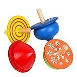 4pcs bambini piccoli giocattoli educativi trottola in legno fatta a mano colore Gyro per bambini e bambine