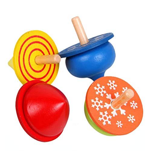 Toyvian Niños niños pequeños Juguetes educativos Madera Giro Hecho a Mano Top Color giroscopio para niños niñas 4 unids